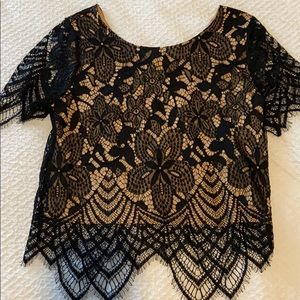 EXPRESS Black & Nude Lace Short Sleeve Crop